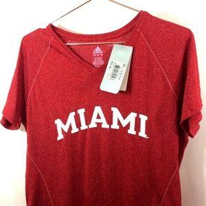 NWT adidas MIAMI University Womens Red Shirt Sz XL